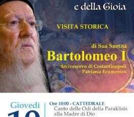 Programma visita Patriarca Bartolomeo I e cerimonia Sfoglio del Codex