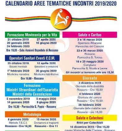 Calendario aree tematiche incontri 2019/2020