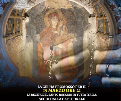Giovedì 19 marzo alle 21 in diretta streaming il Santo Rosario