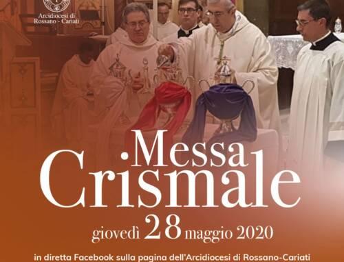 Il 28 Maggio Celebrazione della Messa Crismale
