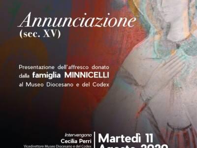 Annunciazione (sec. XV). Presentazione dell'affresco donato dalla Famiglia Minnicelli al Museo Diocesano e del Codex