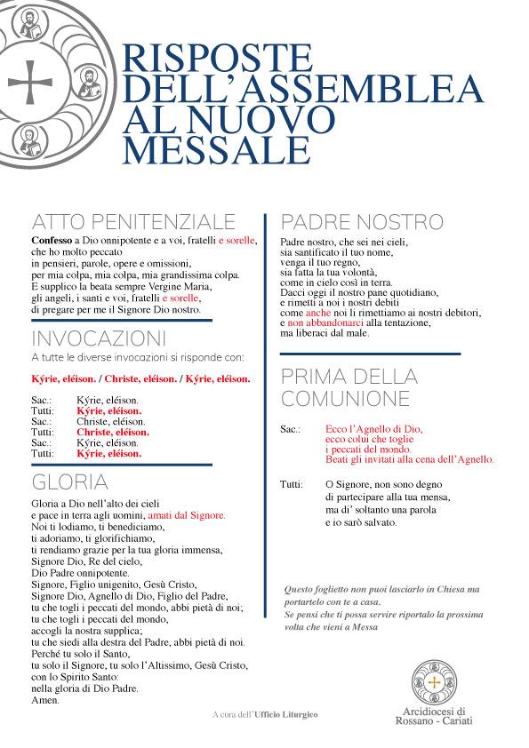 RISPOSTE DELL'ASSEMBLEA Terza edizione Messale Romano