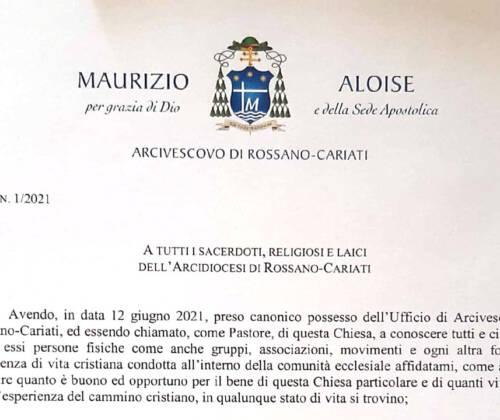 Sua Ecc. Mons. Aloise ha firmato il decreto con cui conferma tutti i titolari di singoli incarichi